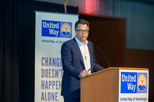 William Browning, United Way Worldwide's Chief Strategy and Transformation Officer speaking at the United Way of Anchorage community campaign kickoff luncheon.
