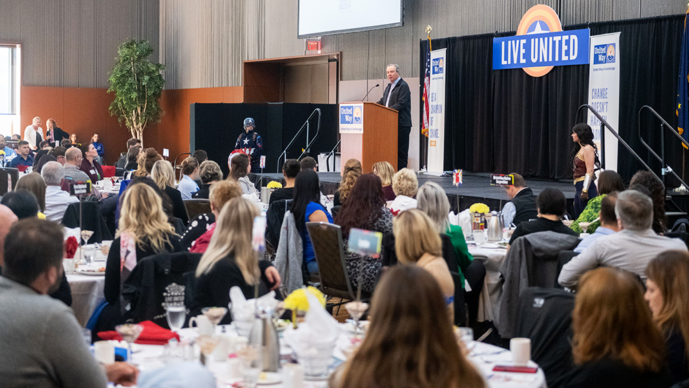 2019 United Way of Anchorage Campaign Chair and President of ConocoPhillips Alaska, Joe Marushack, on stage during the kickoff luncheon.